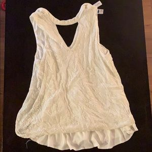 White lace tank with open front